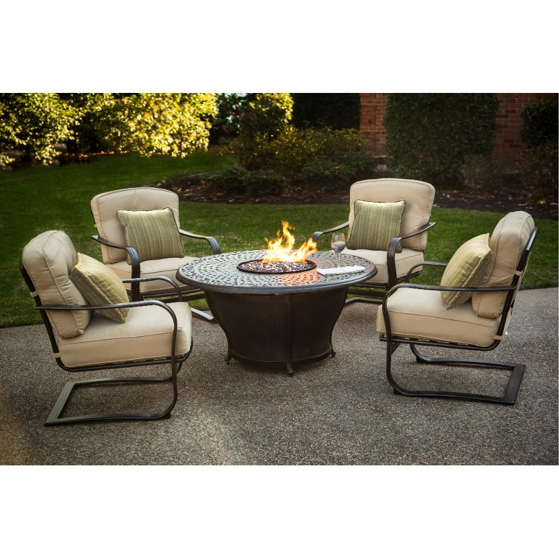 Charming 5 Piece Fire Pit Patio Set   Charleston