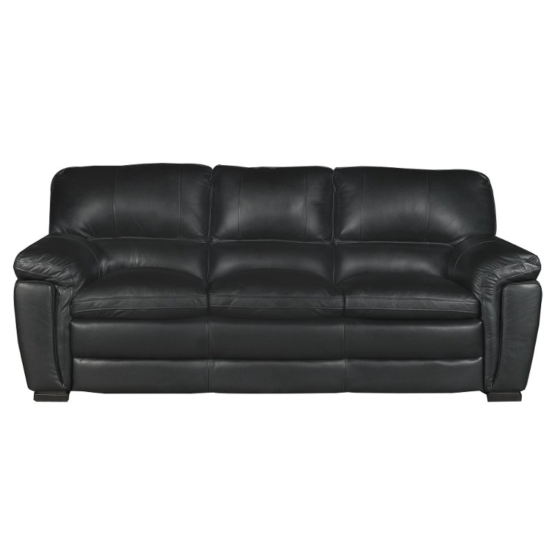 Casual Contemporary Black Leather Sofa - Tanner