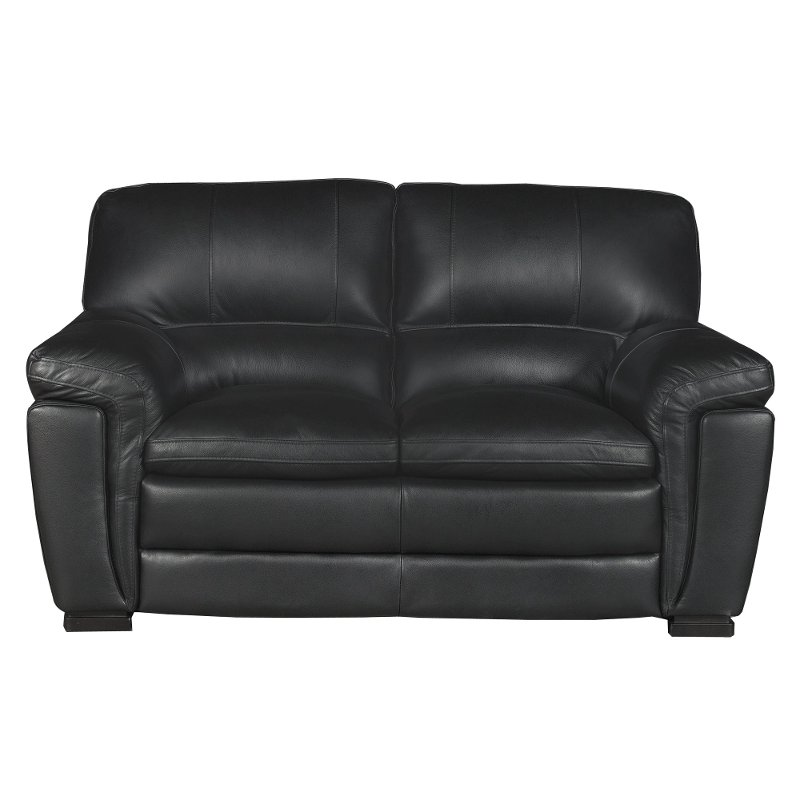 Casual Contemporary Black Leather Loveseat - Tanner