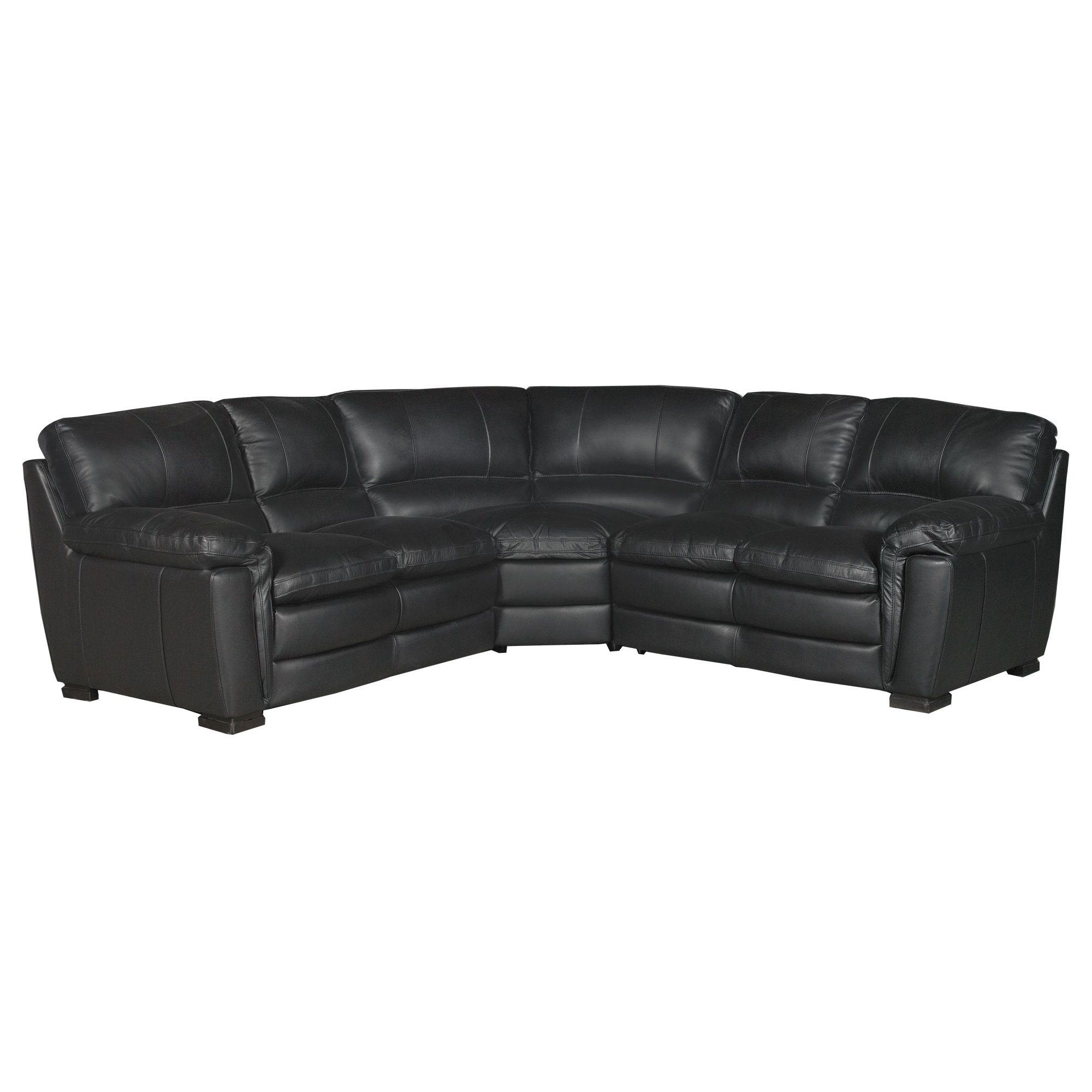Contemporary Black Leather 3 Piece Sectional Sofa Tanner