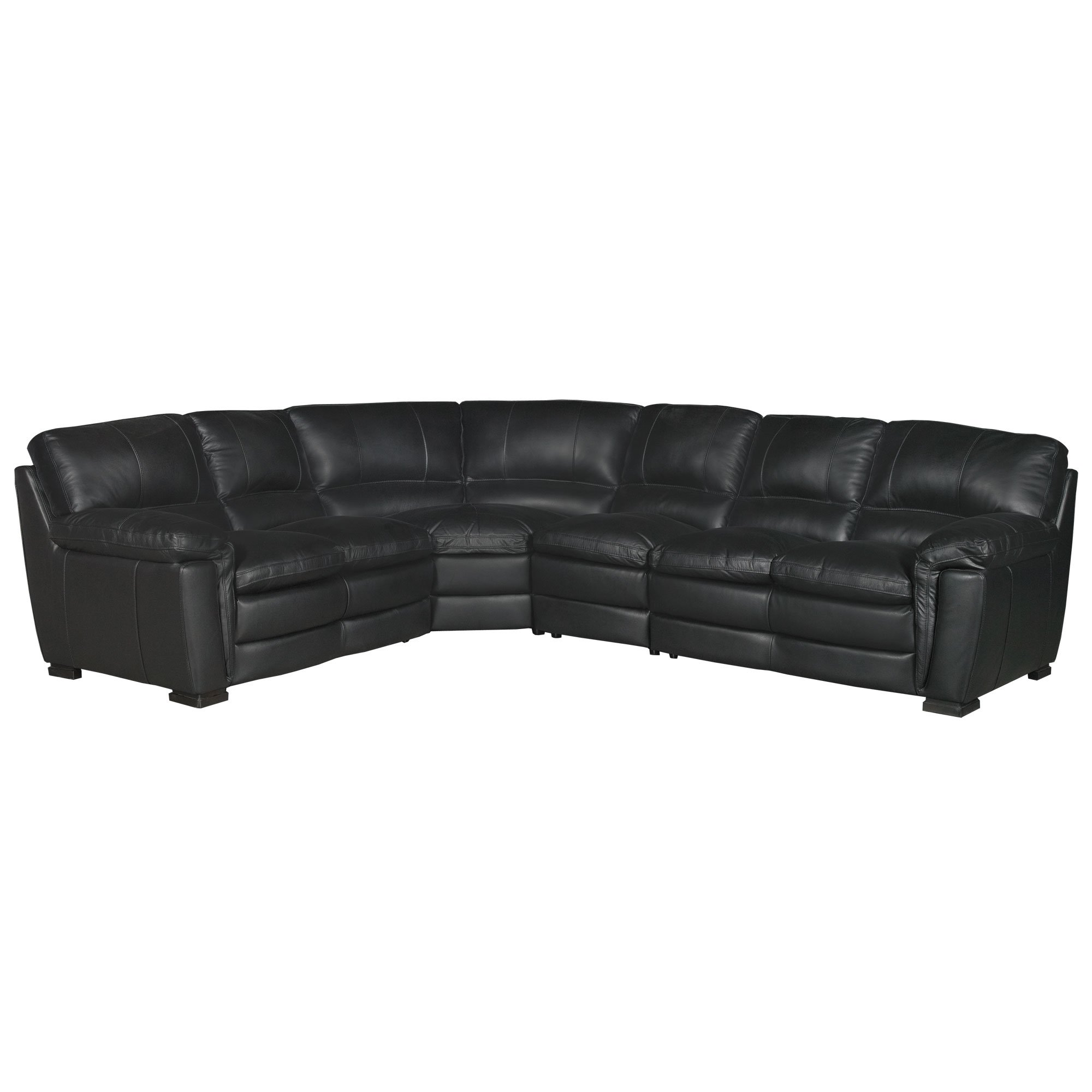 Contemporary 4 Piece Black Leather Sectional Sofa - Tanner