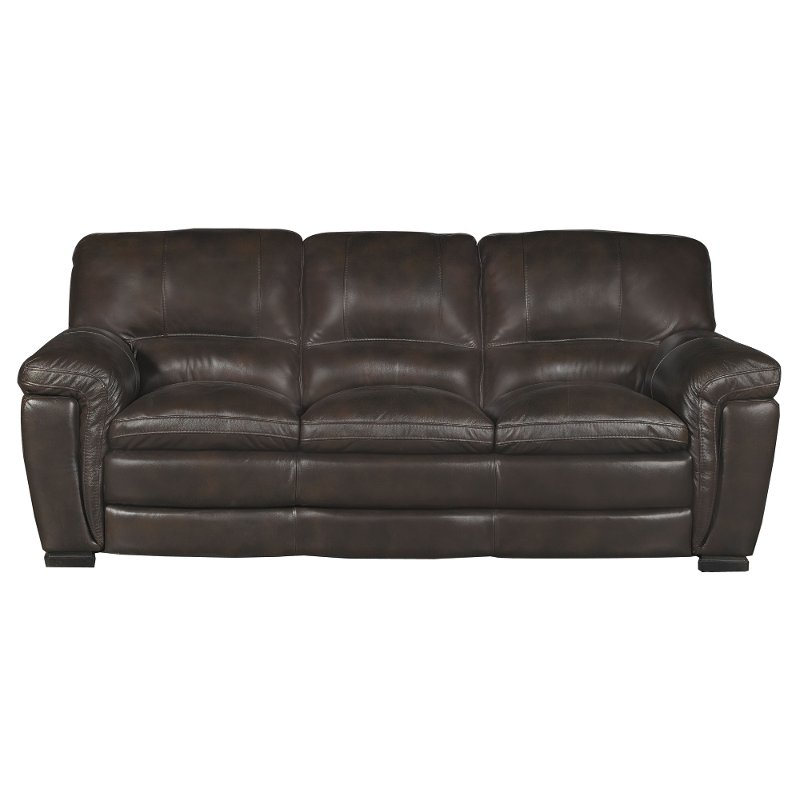 Casual Contemporary Brown Leather Sofa - Tanner
