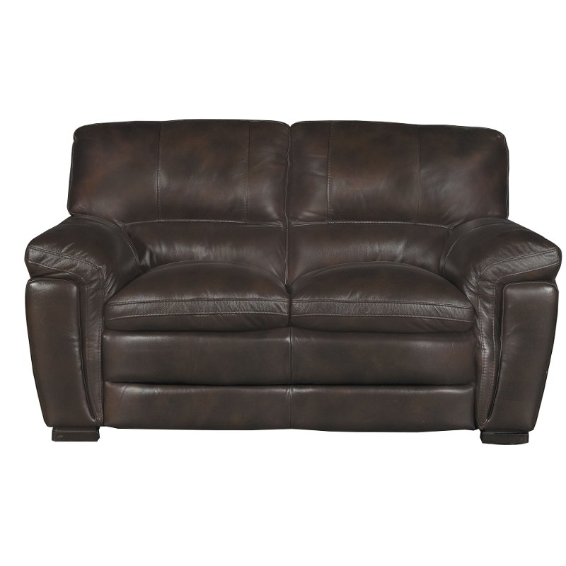 Sensational Casual Contemporary Brown Leather Loveseat Tanner Gmtry Best Dining Table And Chair Ideas Images Gmtryco