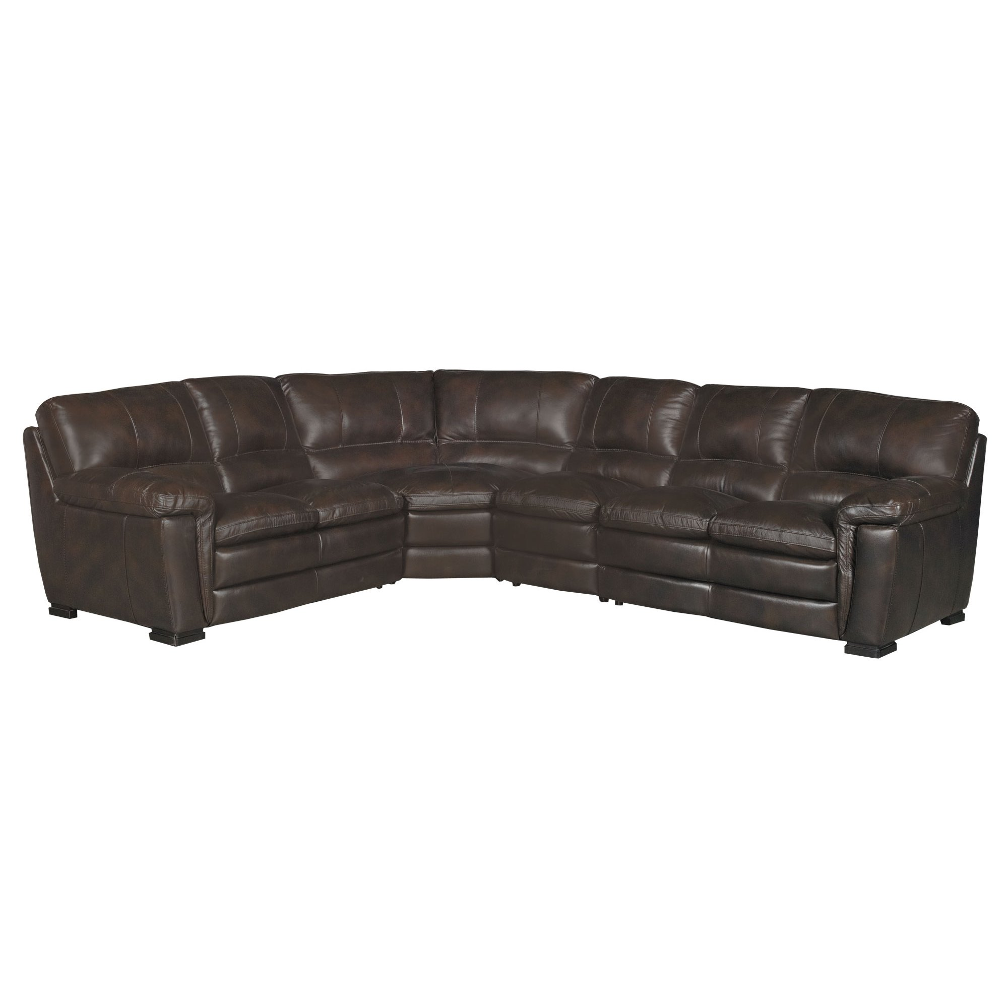 Contemporary 4 Piece Brown Leather Sectional Sofa   Tanner