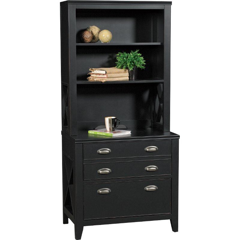 Country Black Lateral File Cabinet With Hutch
