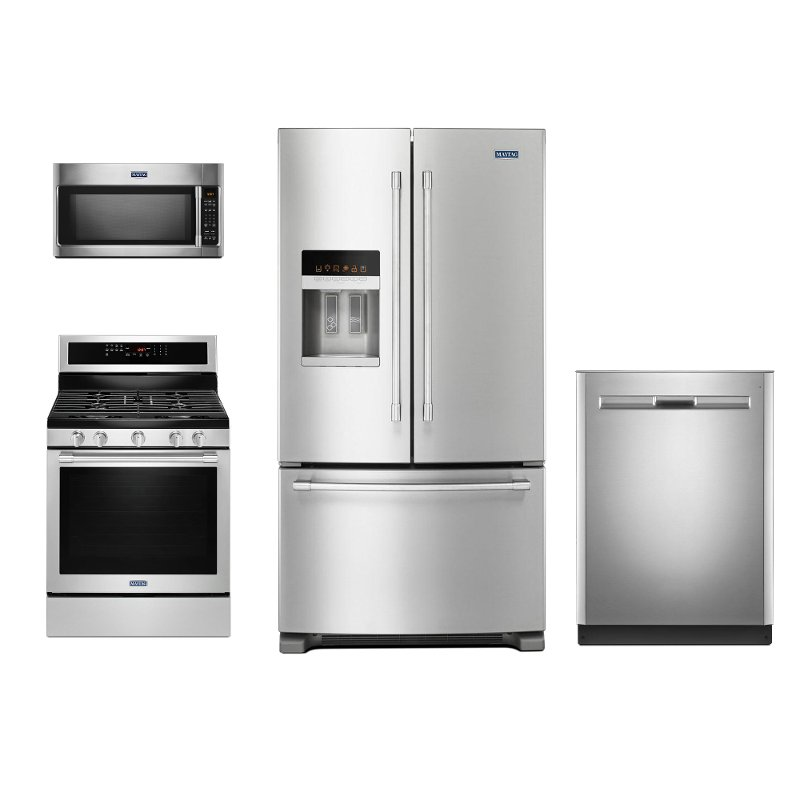 maytag 4 piece kitchen appliance package with gas range stainless steel rc willey furniture. Black Bedroom Furniture Sets. Home Design Ideas