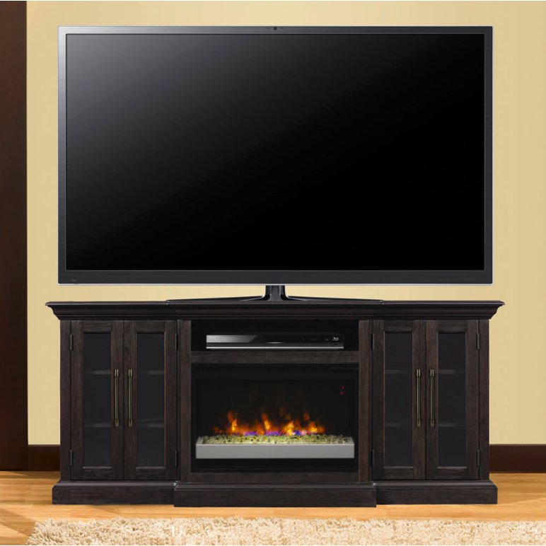 72 Inch Espresso Brown Fireplace And Tv Stand Rc Willey