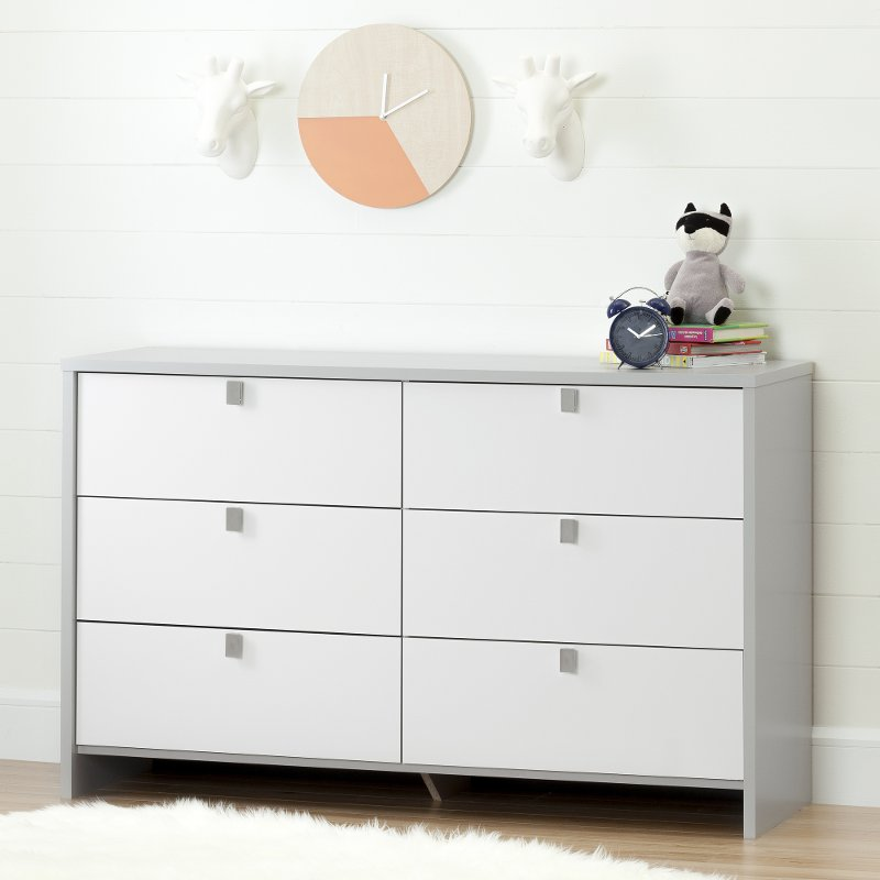Soft Gray And White 6 Drawer Double