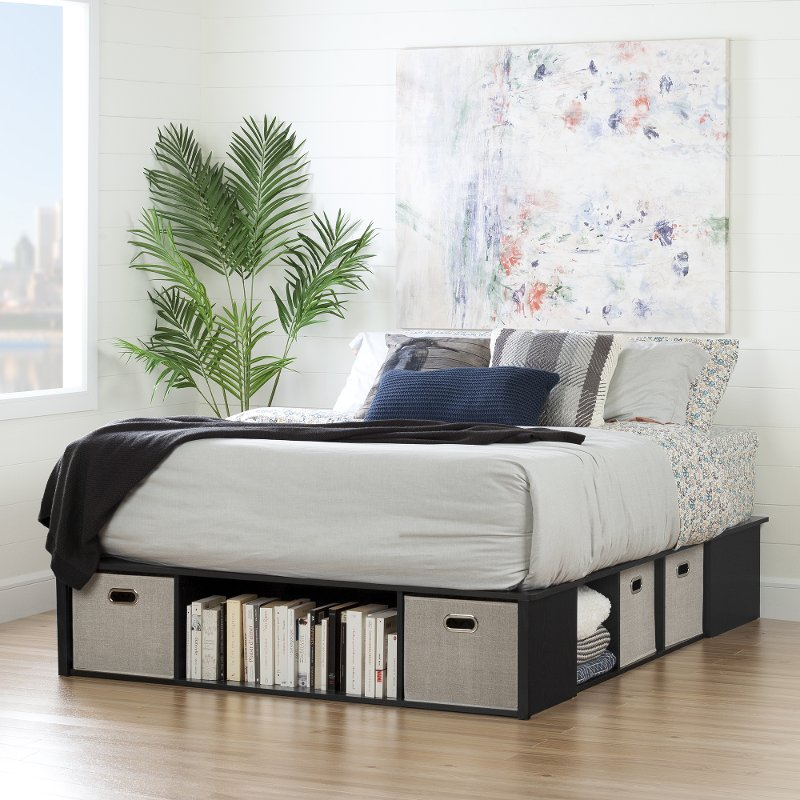 Black Oak Queen Platform Bed With Storage And Baskets