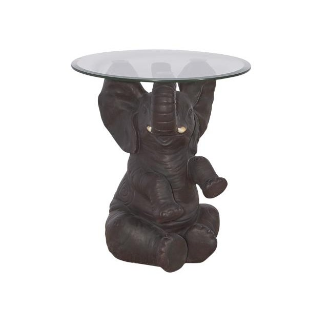Hand Painted Elephant Accent Table With Glass Top
