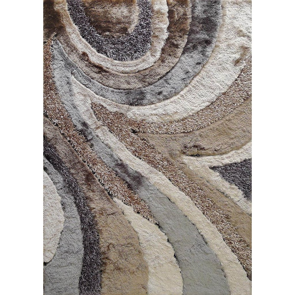 5 X 7 Medium Earth Beige And Gray Shag Rug Shaggy Viscose Design