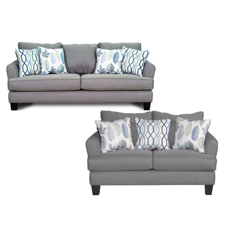 Contemporary Gray-Blue 2 Piece Living Room Set - Bryn | RC Willey ...