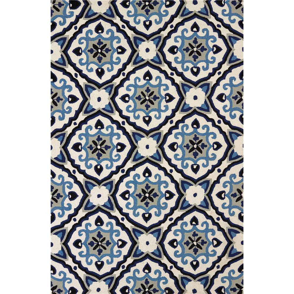 8 X 10 Large Mosaic Medallion Navy Blue Outdoor Rug Atrium Rc