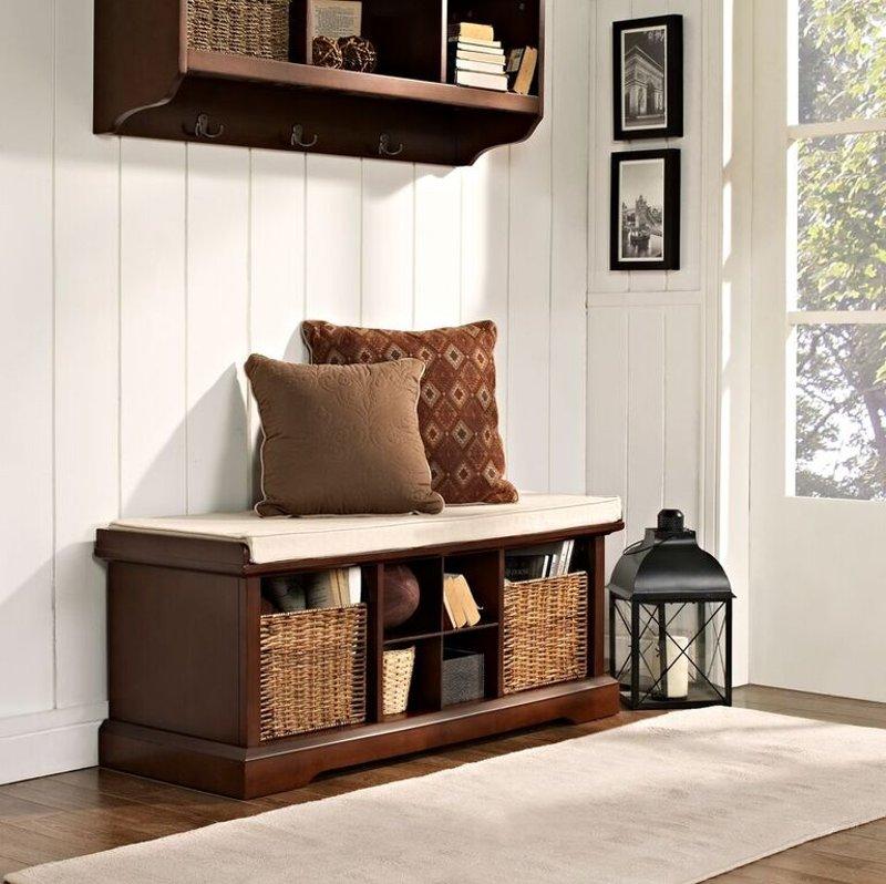 Mahogany Entryway Storage Bench, Entryway Storage Furniture Ideas