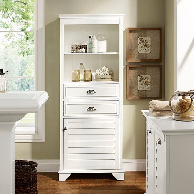 Cf7001 Wh Tall White Bathroom Cabinet Lydia