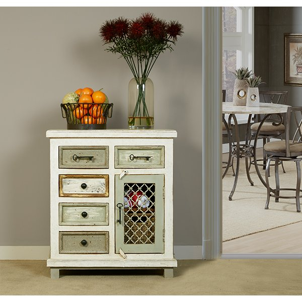 Whitewash 5 Drawer/ 1 Door Cabinet With Chicken Wire   Larose | RC Willey  Furniture Store