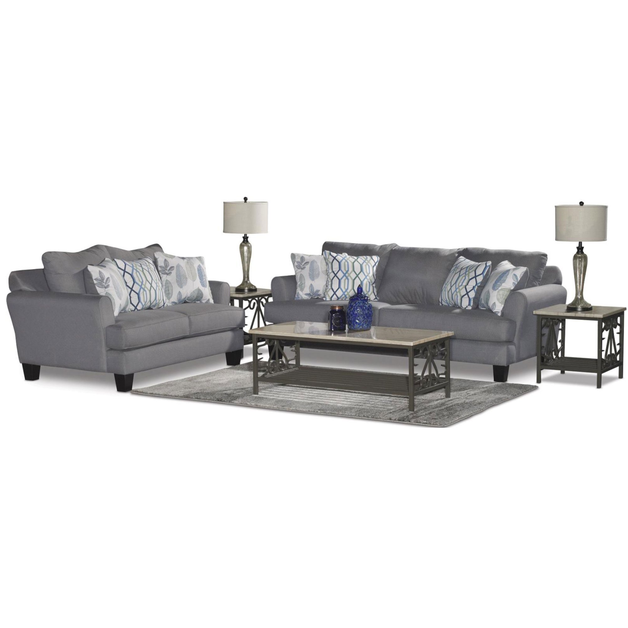 Casual Contemporary Gray-Blue 7 Piece Living Room Set - Bryn | RC ...