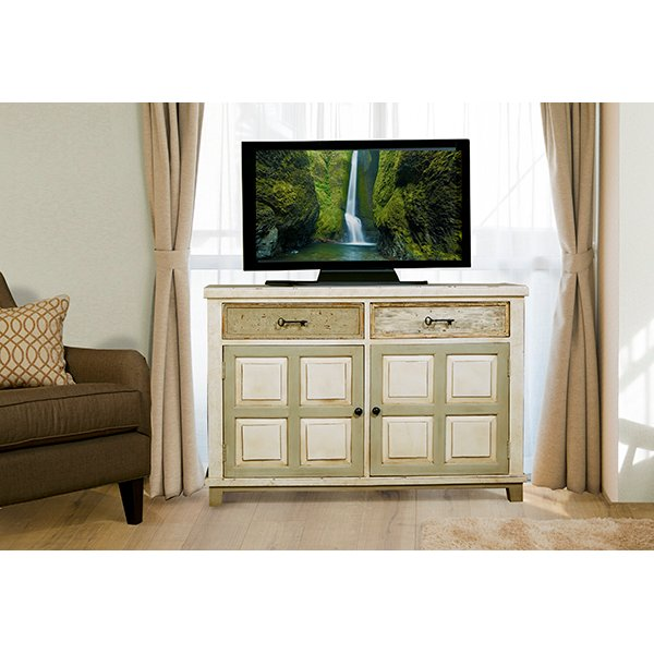 Whitewash Console Table With 2 Door Storage   Larose | RC Willey Furniture  Store