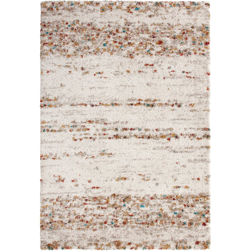 8 X 11 Large Ivory, Rust, And Teal Blue Rug - Sherpa