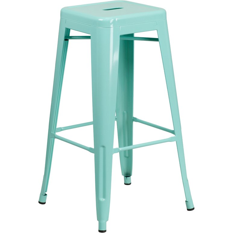Backless Mint Green Metal Square Seat 30 Inch Bar Stool Rc Willey