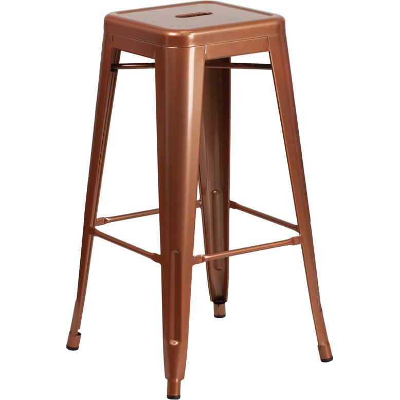 Backless Copper Metal Square Seat 30 Inch Bar Stool Rc Willey