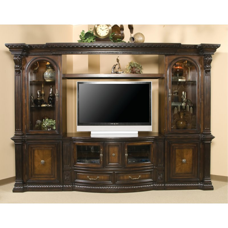 Brown 6 Piece Traditional Entertainment Center