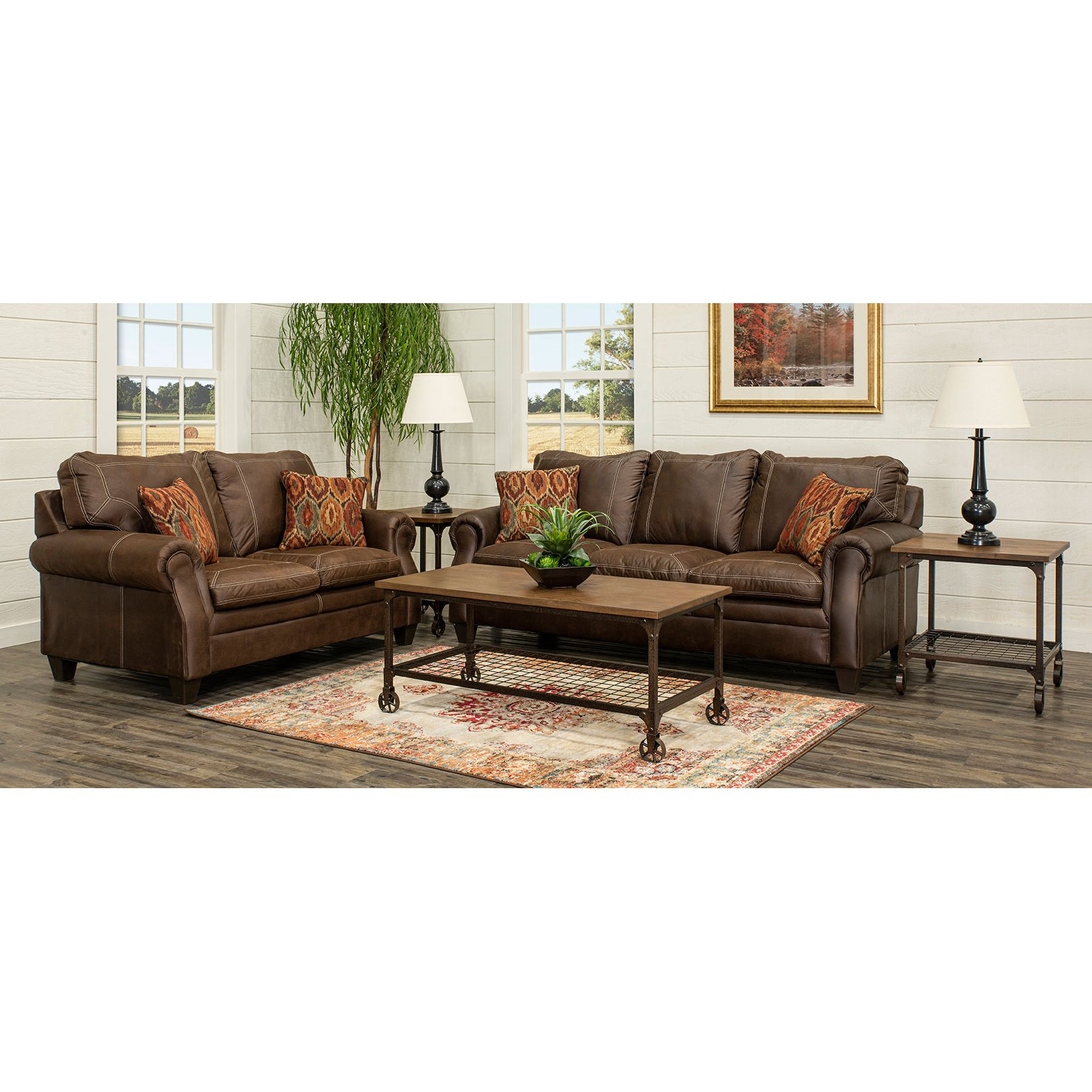 Classic Traditional Brown 7 Piece Living Room Set - Shiloh | RC ...