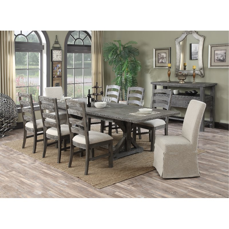 Room Store Dining Room Sets: Charcoal 9 Piece Dining Set - Paladin