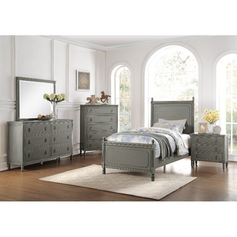 Classic Antique Gray 6 Piece Twin Bedroom Set Aviana Rc Willey Furniture Store