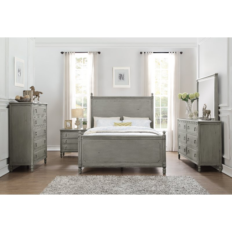 American Furniture Warehouse Mail: Classic Antique Gray 6 Piece Full Bedroom Set