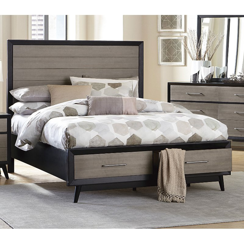 Contemporary gray and black queen storage bed raku rc - Modern queen bed with storage ...