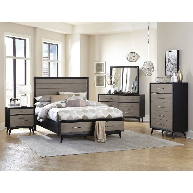 contemporary gray and black 6 piece california king bedroom set