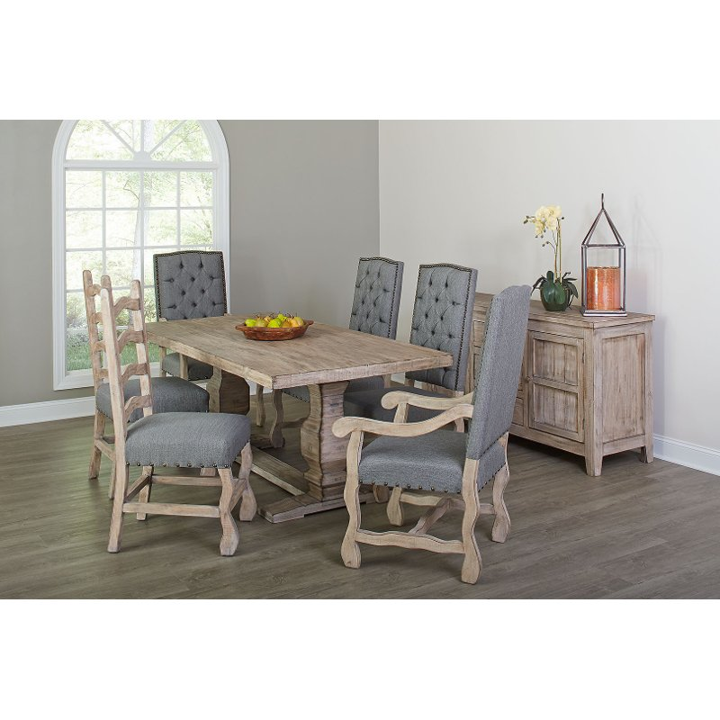 Gray And Barn Washed 5 Piece Dining Set With Ladder Back