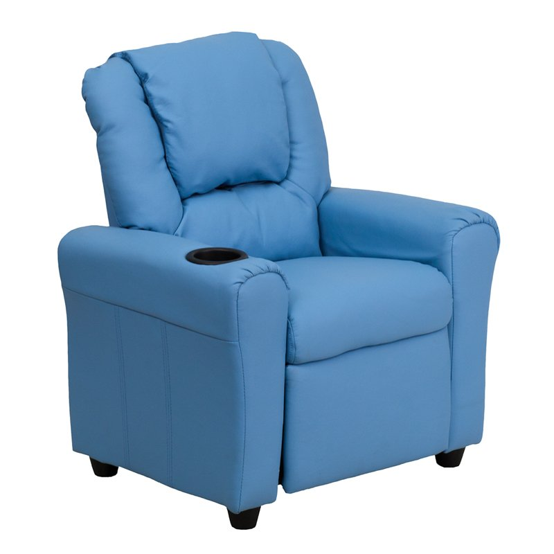 Light Blue Vinyl Kids Recliner With Cup Holder Rc Willey Furniture