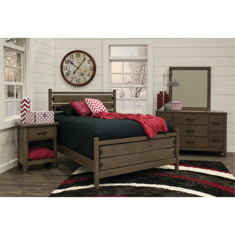 Contemporary Brown 4 Piece Full Bedroom Set