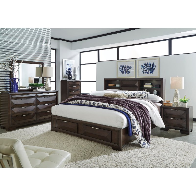 Bedroom Sets Furniture Stores: Brown Contemporary 6 Piece Queen Bedroom Set