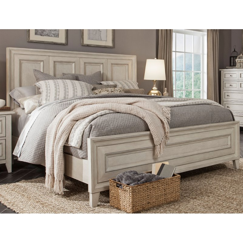 Weathered white king size bed raelynn rc willey - White king size bedroom furniture ...
