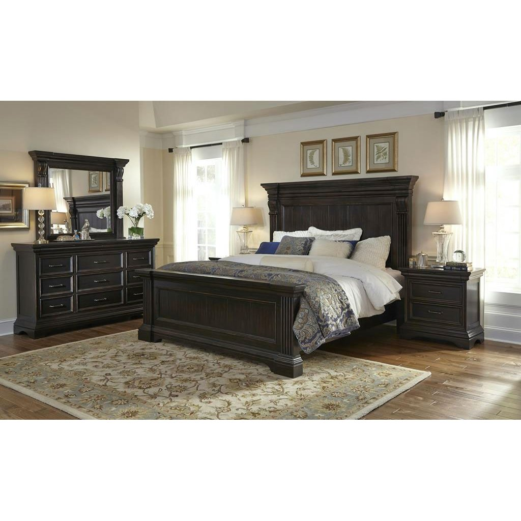 Furniture Stores Bedroom: Molasses Classic Traditional 4 Piece King Bedroom Set