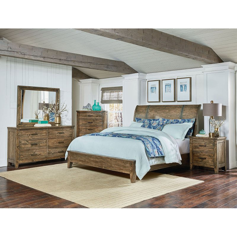Rustic Casual Pine 4 Piece Queen Bedroom Set   Nelson | RC Willey Furniture  Store