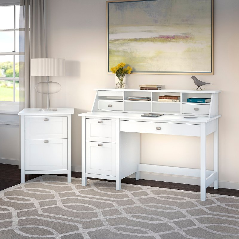 Computer Desk With Pedestal Organizer And File Cabinet Broadview