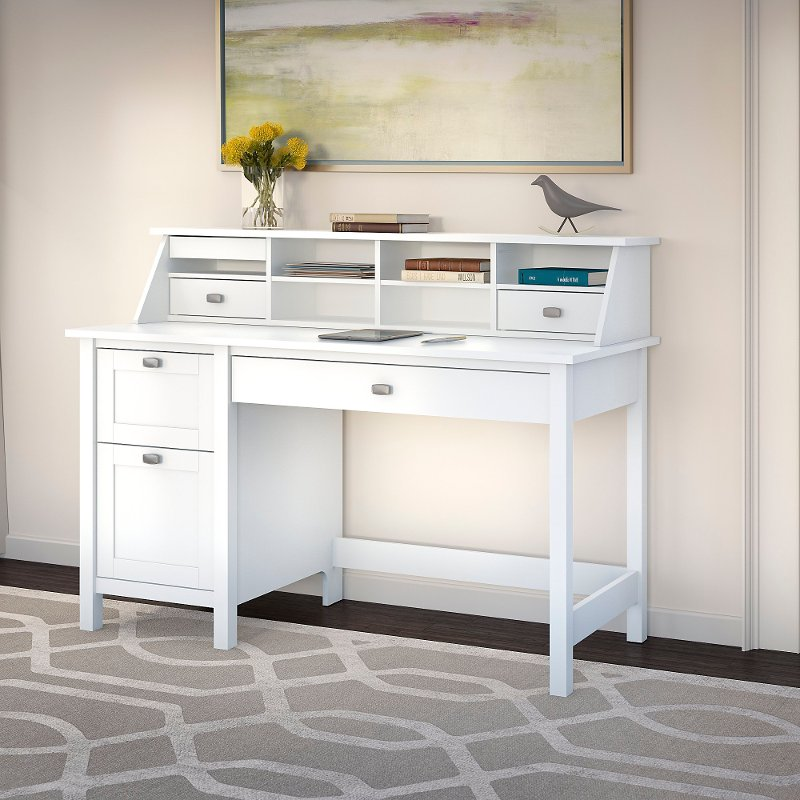 Computer Desk With 2 Drawer Pedestal And Organizer Broadview