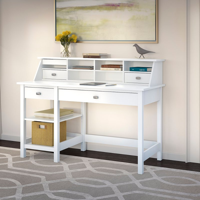 Computer Desk With Open Storage And Desktop Organizer Broadview