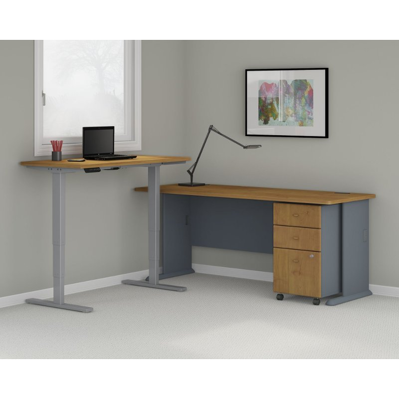 60w x 30d natural cherry height adjustable standing desk - Height Adjustable Standing Desk