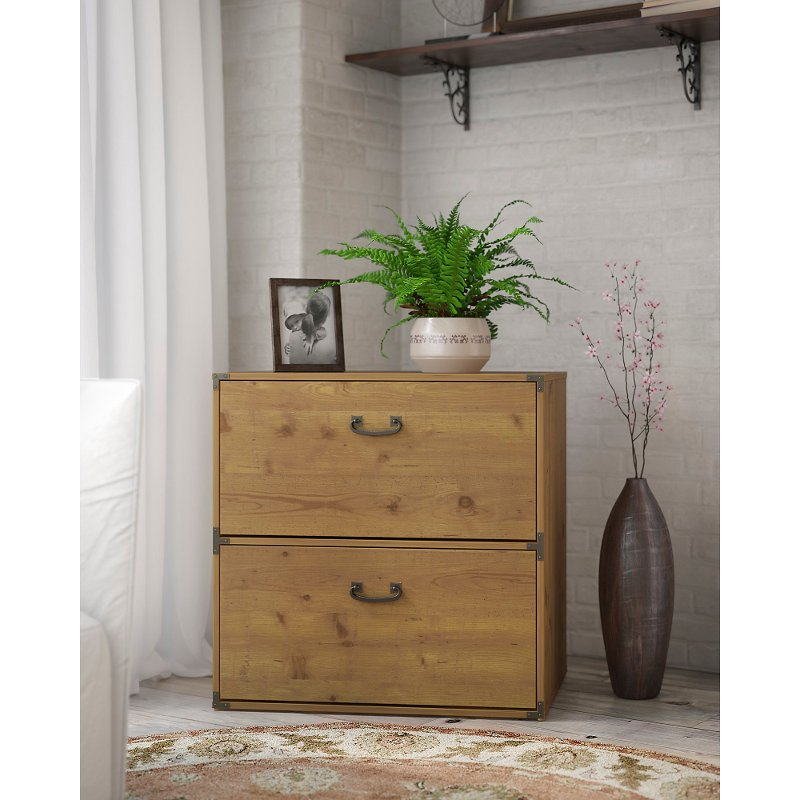 Golden Pine 2 Drawer Lateral File, Stylish File Cabinet