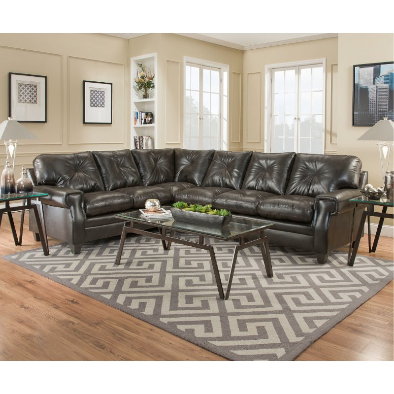 Dark Brown Classic Contemporary 2 Piece Sectional Sofa - Lucky