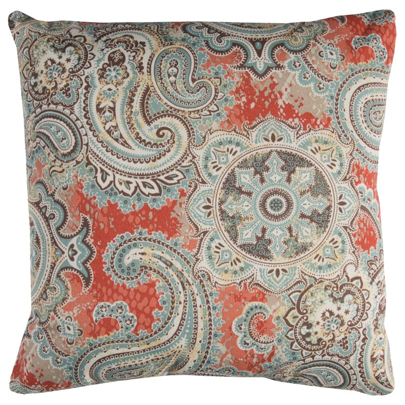 Gray And Salmon Paisley Indoor Outdoor Throw Pillow Rc Willey Furniture Store