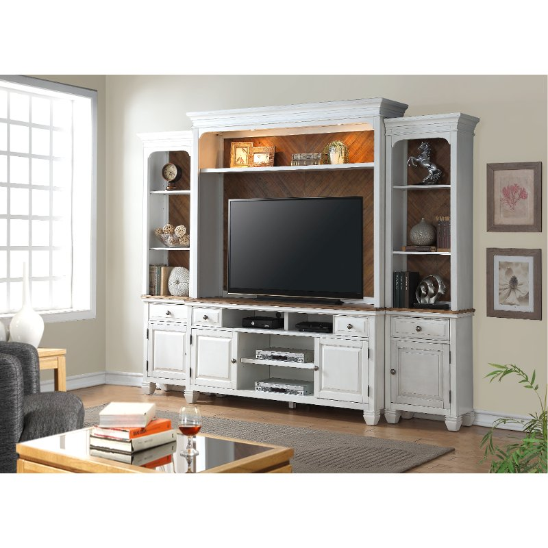 White 4 Piece Classic Entertainment Center Camden Rc Willey Furniture Store