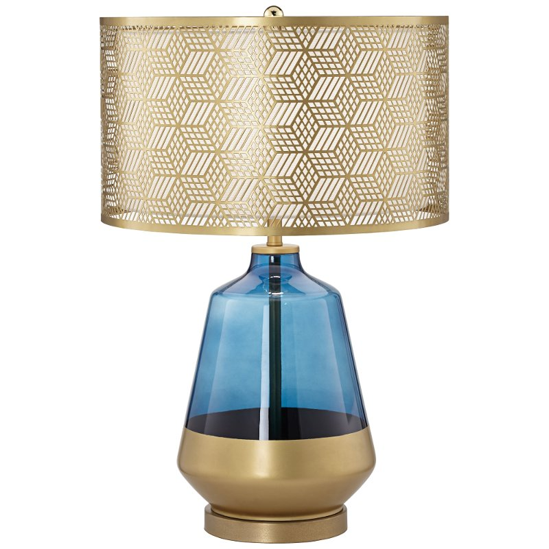 Cobalt Blue And Gold Table Lamp With Metal Shade Rc Willey