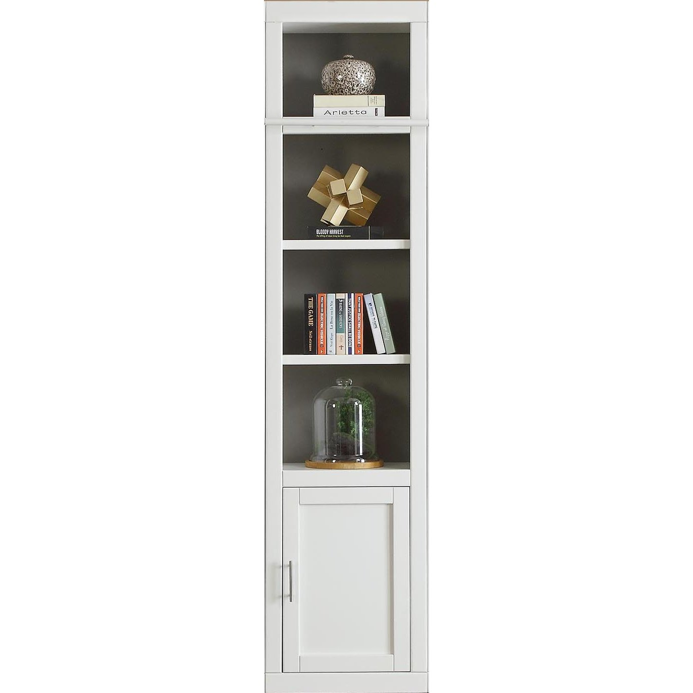22 Inch Modern White Bookcase With Door   Catalina
