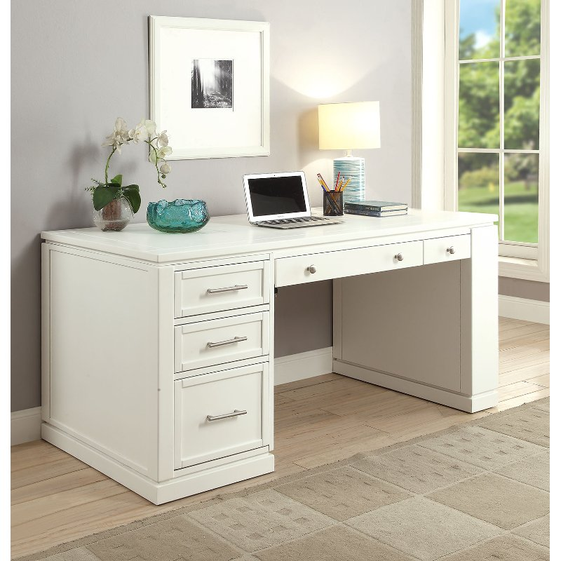 White Modern Office Desk Catalina Rc Willey Furniture